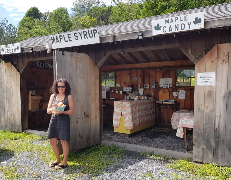 A small orchard stall selling peaches, maple syrup and maple walnuts - yum!
