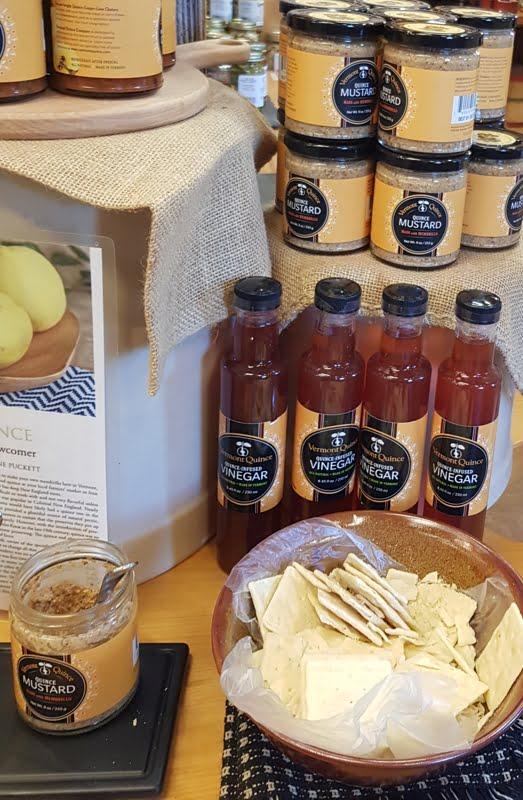 Quince vinegar for sale at a cheese farm shop