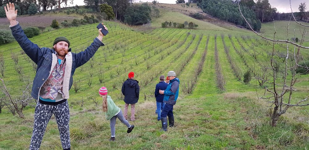 Simon's undulating orchard on the side of several hills had Ant jumping for joy