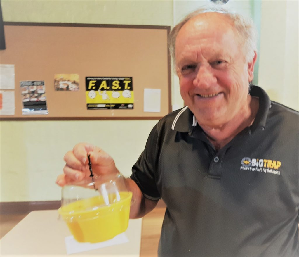 Fruit fly trap inventor Colin Bain with his male pheromone 'Biotrap', which are perfect for monitoring at the start of the season