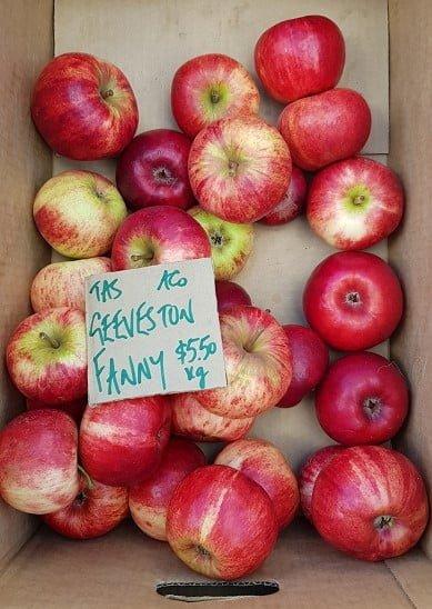 Organic Geeveston Fanny apples at a market in Tassie