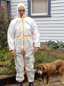Hugh wearing appropriate Personal Safety Equipment (even though we use organic fungicides, you can't be too careful!)