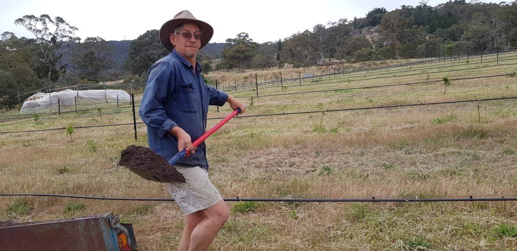 Hugh working on soil improvement