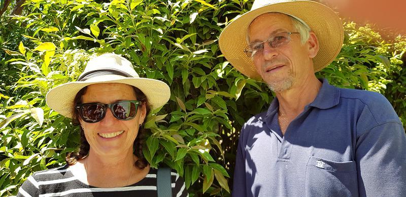 Katie and Hugh in the native food garden