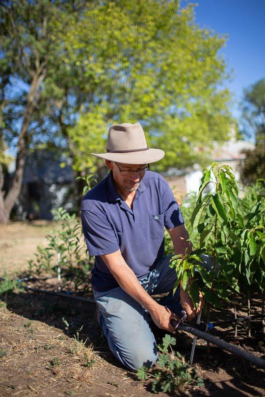 Hugh improving the irrigation system