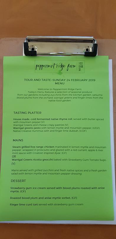 """The menu from the """"Tour and Taste"""" lunch at Peppermint Ridge Farm"""