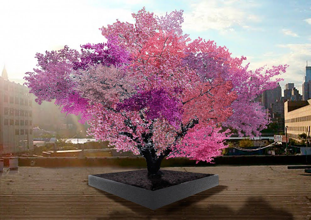 The artist's rendition of a tree from the 'Tree of 40 Fruit' series by Sam Aken (from www.treeof40fruit.com)
