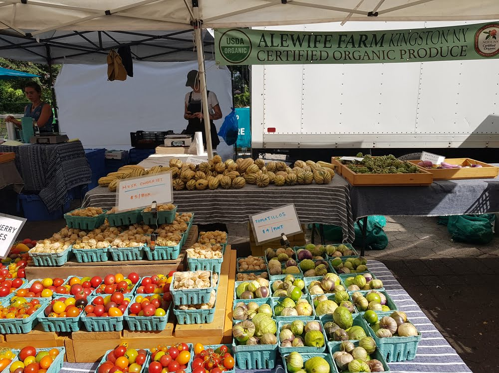 An organic vegetable stall at Union Square Farmers Market in Manhattan