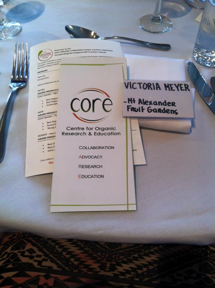 The menu for the all organic dinner at the CORE Awards night