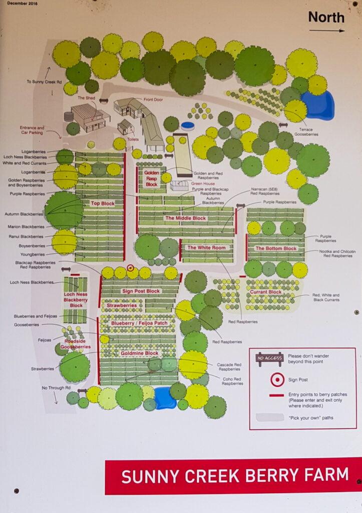 The farm map at Sunny Creek Farm