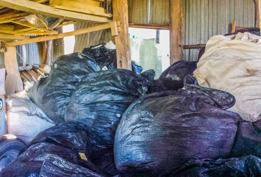 black bags full of fruit tree net stored in the shed