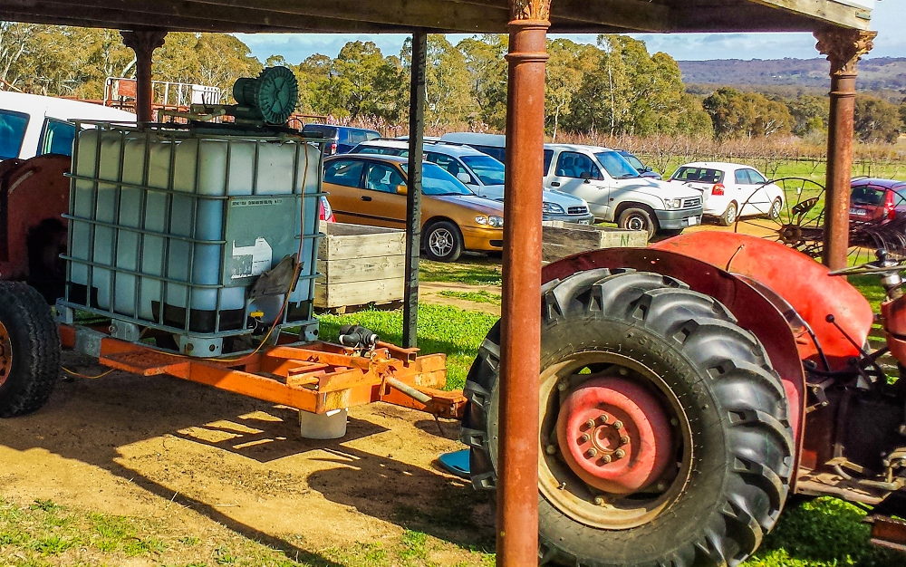 Our 1,000 L compost tea brewer set up for demonstration at a workshop